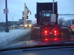 On the way to Eau Claire. Don't worry, it was a red light.