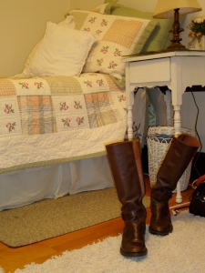Boots and bed. Yes, that is another twin bed. The twin to my twin, you could say.