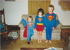 Superheros. Don't let my siblings' faces fool you, heroics are serious business.