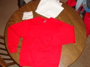 Red sweatshirt!
