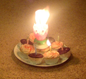 Nothing says a party like flaming cupcakes on the carpet...