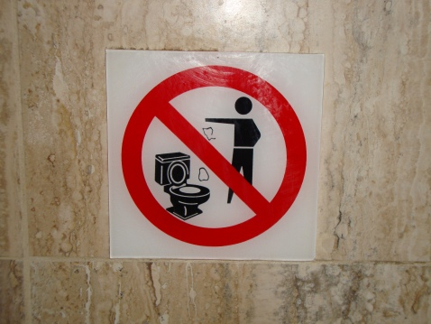 This was one of the more straight-forward signs. Another one had an ill-looking toilet with paper in it.