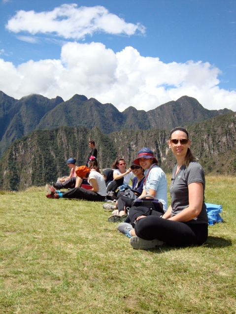 Lunch on Machu Picchu. Sara and the two law students (Patty and Padmini)