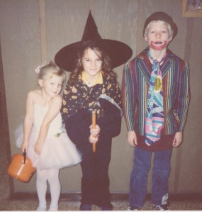 "Halloween circa 1989. I am the witch in the middle. We still have the jacket my clown brother is wearing. Libby is a tiny dancer. This was clearly during her ""tilt my head in every photo"" phase."