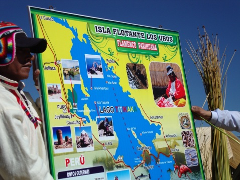This is a map of Lake Titicaca. The president of the island we're on is to the left; our tour guide is on the right.