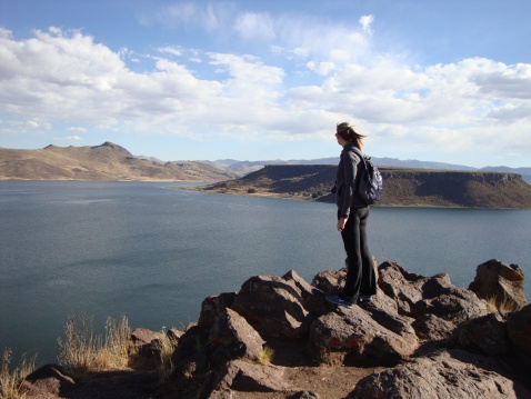 Sara, contemplating Lake Umayo.