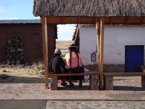 This isn't a bus stop. It's a bench placed along the walkway to one of the ruins we visited near Puno, the high plateau. Several of these lined the walkway, placed there for tourists who needed to rest after exertion in the altitude.