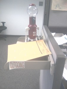 He got the interoffice mail thing down!