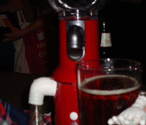 Tom Servo's First Beer. He liked it.