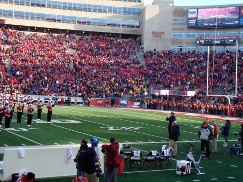 It's a pretty packed stadium, but mostly red and white.