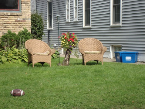 These are not Adirondack chairs, but I like them anyway. And, football.